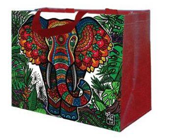 Ecobag de Ráfia MINI - Coleção Artistas do Brasil by @Danroots Vermelho - Sacola Reutilizável - CáPraLá