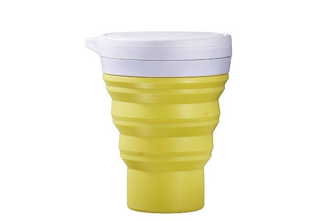 Copo Retrátil de Silicone Menos 1 Lixo - Amarelo
