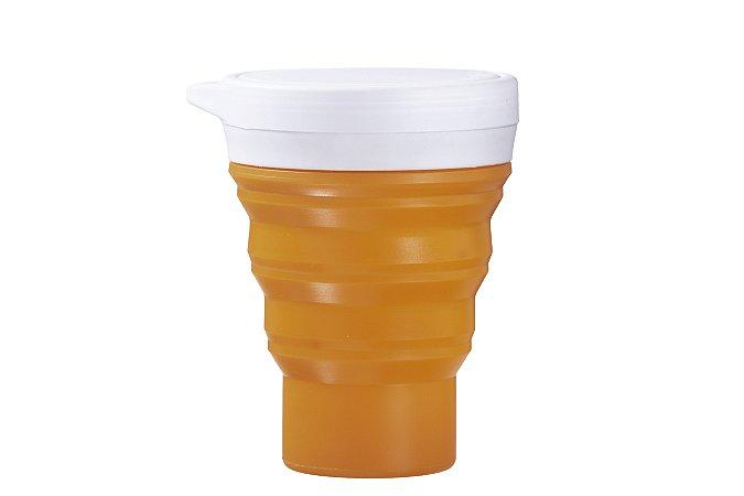 Copo Retrátil de Silicone Menos 1 Lixo - Laranja
