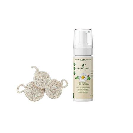 Kit Ecopads Demaquilantes + Espuma de Limpeza Facial Camomila, Aloe e Jojoba 120 ml
