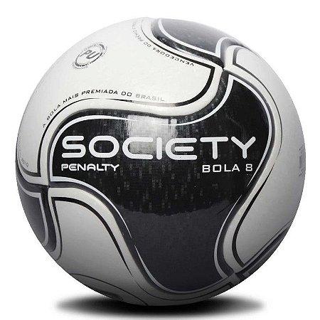Bola de Futebol Society Penalty 8 IX - Branco e Preto