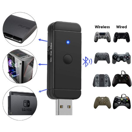 Adaptador Jys Bluetooth Wireless P/ Nintendo Switch PC PS3 Raspberry Pi