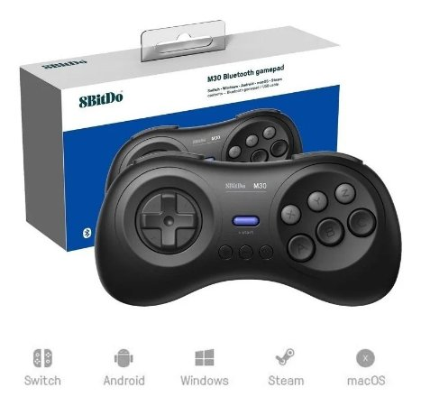 Controle 8bitdo M30 Mega Drive Bluetooth Nintendo Switch Pc