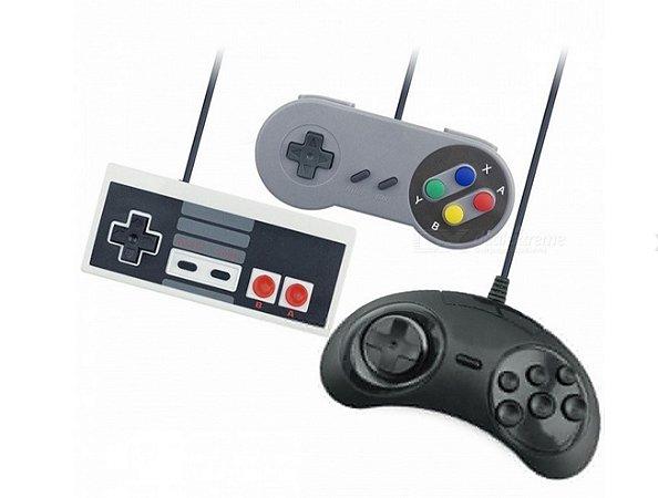 Kit 3 Controles Usb Mega Drive Super Nintendo Snes E Nes