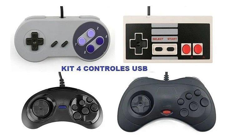 Kit 4 Controles Usb Mega Drive Sega Saturn Snes Nes RaspberryPi Pc