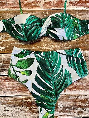 Biquíni Hot Pant Folhas Verdes