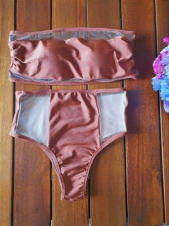 Biquíni Hot Pant Tomara que Caia Bronze com Tule