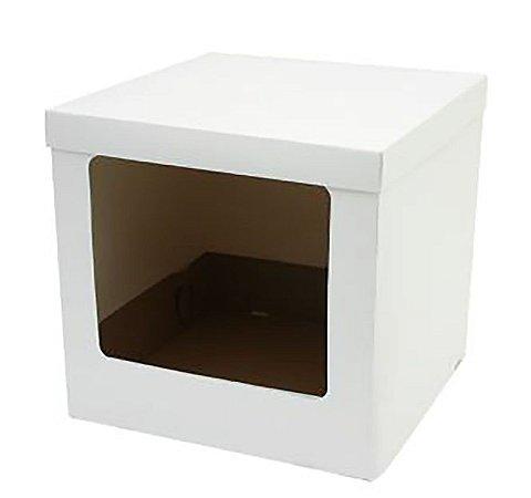 Caixa Bolo Alto Branca com Visor 32 x 32 x 30 cm