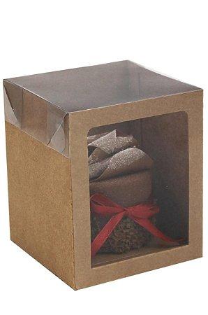 Caixa Box Kraft Mini Panetone c/ Visor e Tampa Transparente PCT c/10