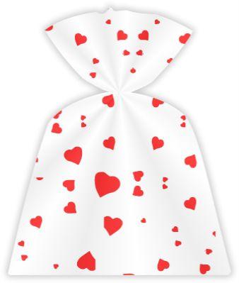 Saco Decorado Coração Vermelho 11 x 20 cm pct c/50