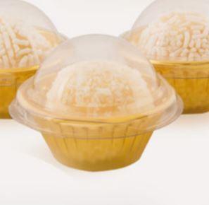 Embalagem p/ docinho Candy Cup Ouro Metalizado pct c/24