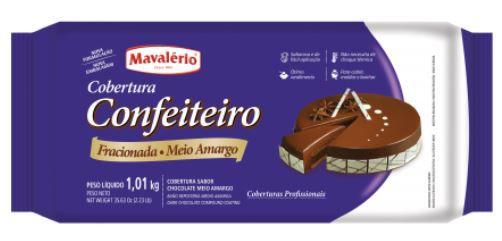 Cobertura Confeiteiro Mavalério Meio Amargo Barra 1,01 Kg