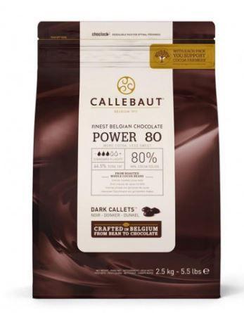 Chocolate Belga Callebaut Amargo Power 80 80% Cacau Gotas 2,5 Kgs