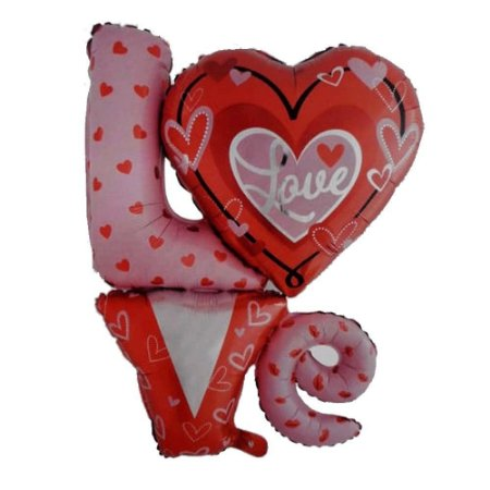 BALAO METALIZADO LOVE DECORADO GIGANTE 81X91CM