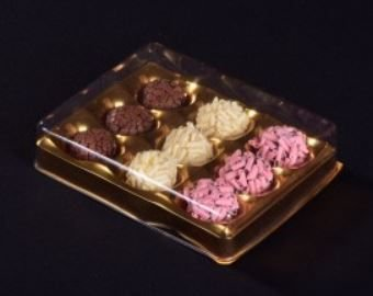 Candy Box Ouro Metalizado p/ 9 doces pct c/10