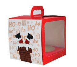 Caixa Panetone com alça e visor Ho-Ho-Ho Pct c/5