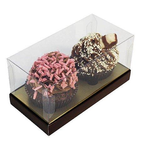 Caixa 2 Cupcakes Marrom com ouro pct c/10