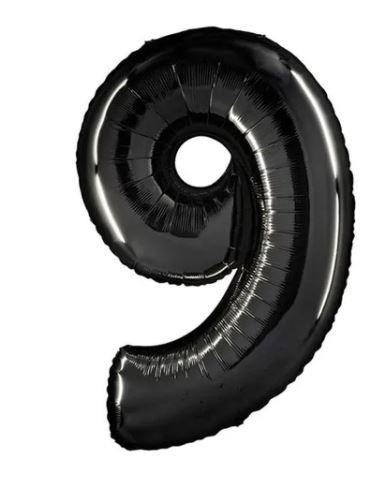 Balão Metalizado n°9 Preto 34 polegadas 86cm Qualatex