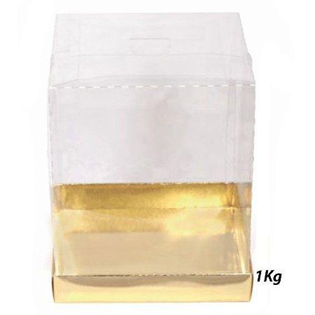 Caixa Bolo / Panetone Vitrine 1000g Base Dourada