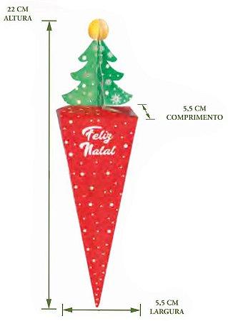 Caixa Cone Arvore de Natal Pct c/8