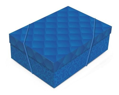 Caixa Luxuria Azul G com Tampa 46x33x14cm (unidade)