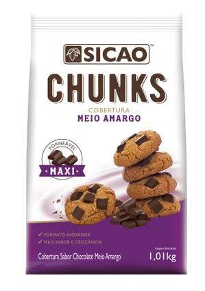 Chips Cobertura Meio Amargo Sicao Chunks 1,01KG