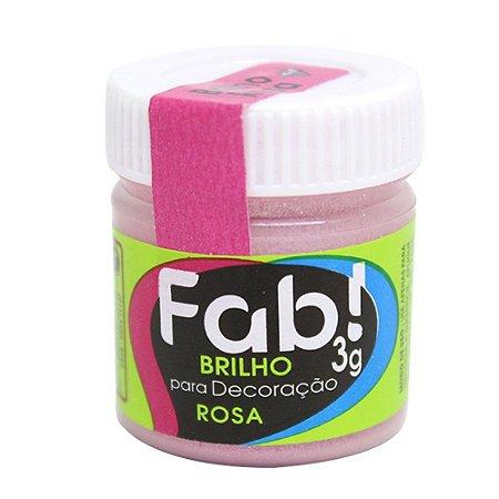 Brilho Glitter p/ Decoração Rosa FAB 3g