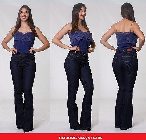 Calça Jeans Biotipo Feminina Flare Cós Médio Com Elastano - 24803