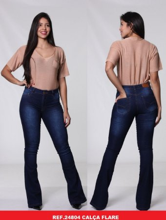 Calça Jeans Biotipo Feminina Flare Cós Médio Com Elastano - 24804