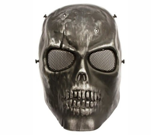Mascara tática airsoft Caveira cromo tela metal