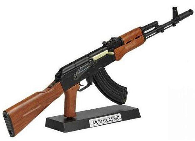 Miniatura AK74 p/colecionador miniatura airsoft 30cm metal