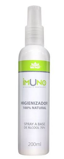 Spray Higienizador Imuno 100% Natural a Base de Álcool 70 com 200ml – WNF