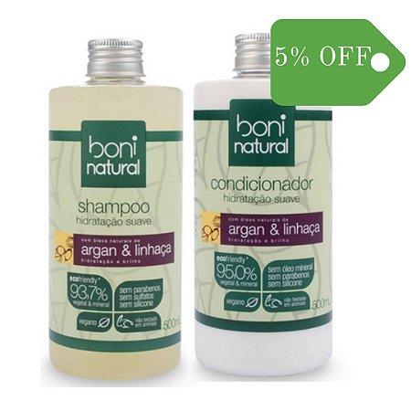 Kit Shampoo e Condicionador Argan e Linhaça - Boni Natural
