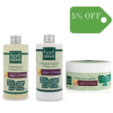 Kit Shampoo, Condicionador e Máscara de Hidratação Argan e Linhaça - Boni Natural