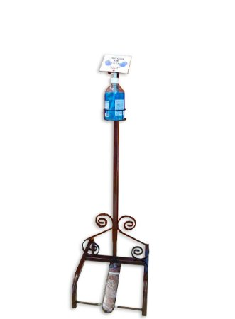 Pedestal para alcool em gel vintage cobre
