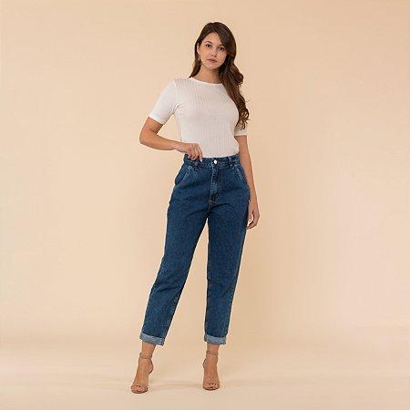 Calça Jeans Mom Barra Virada