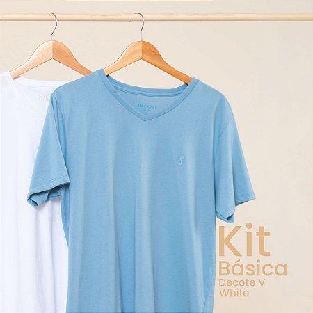 Kit Camiseta Masculina Basica Gola V White