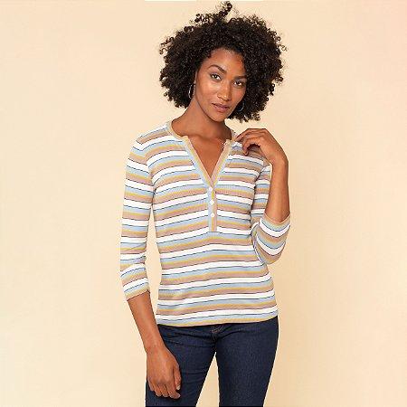 Blusa Feminina Listrada Decote Com Botões