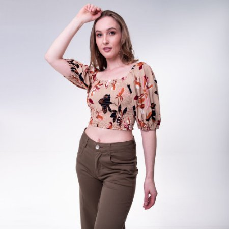 BLUSA FEM. CROPPED ESTAMPADA