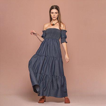 Vestido Jeans Com Lastex