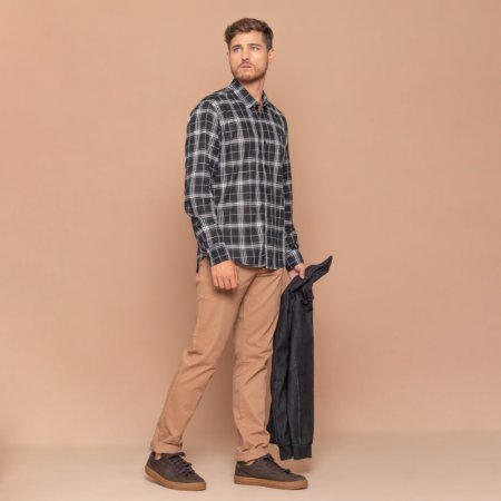 Camisa Masculina Manga Longa Algodão