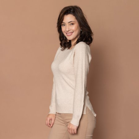 Blusa Tricot Feminina com Trança