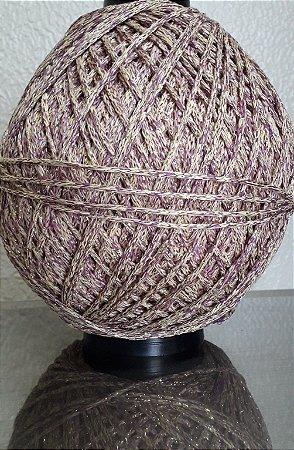 Cordão 90% poliéster 10% lurex (3mm) - com brilho. Cor: Violeta e creme com dourado