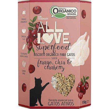 Biscoito Orgânico All Love Superfood Gatos Frango 150g Sabor Frango, Chia & Cranberry