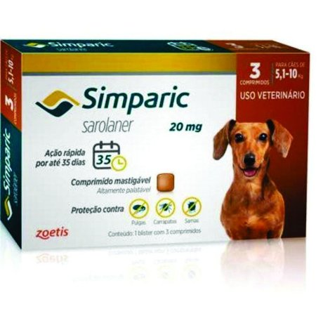Antipulga Simparic 20 Mg 5 A 10 Kg - 3 Comprimidos