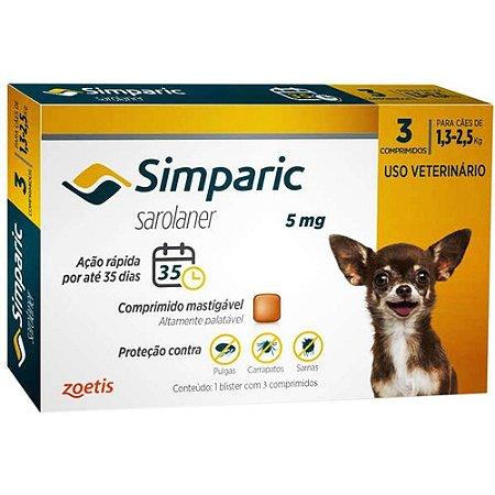 Anti Pulgas Simparic 5mg Com 3 Comprimidos Cães 1,3 A 2,5 Kg