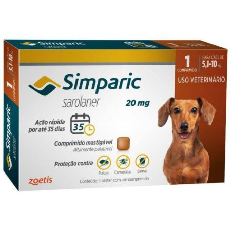 Anti Pulgas Simparic 20mg Com 1 Comprimido Cães 5,1 A 10 Kg