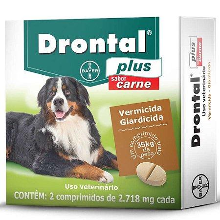 Vermífugo Drontal Plus Sabor Carne Cães De 35 Kg 2 Comp