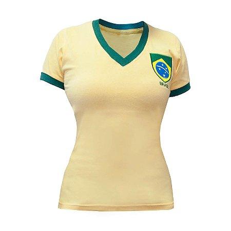 Camisa Retrô Feminina Brasil - Gola V Amarela