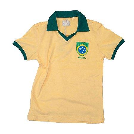 Camisa Retrô Juvenil Brasil - Polo Amarela